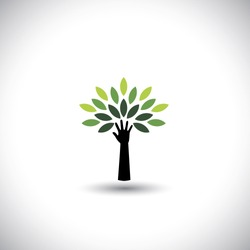 human hand & tree icon with green leaves - eco concept vector. This graphic also represents environmental protection, nature conservation, eco friendly, renewable, sustainability, nature loving