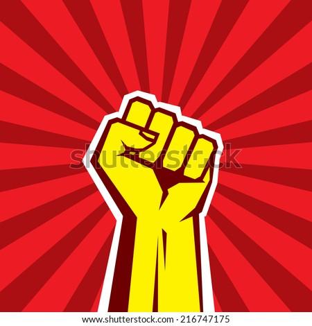 Human hand Up Proletarian Revolution - Vector Illustration Concept in Soviet Union Agitation Style. Fist of revolution. Red background. Design element.