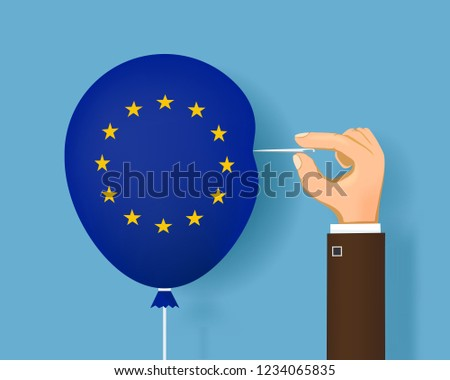 Human hand with a sewing needle and a balloon with flag of European Union. Brexit. Vector illustration.