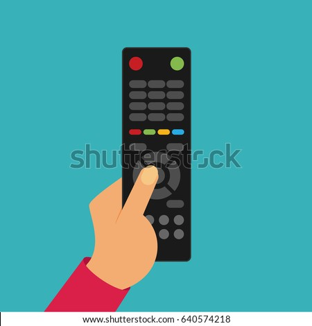 Human hand with black remote TV Control
