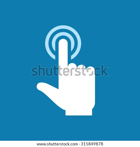 Human hand with finger touch to screen - icon sign. Surface display. Design element.