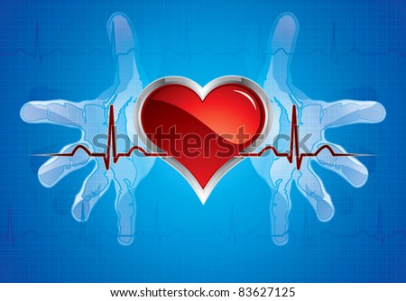 Human hands caring heart.Medical background