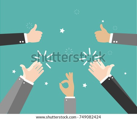 Human hands clapping. Applaud hands. Hand gestures - OK, Super, Thumb. Vector illustration in flat style on green background