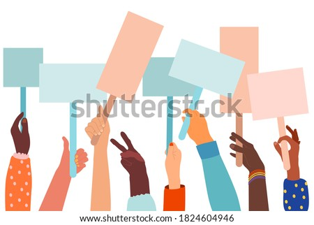 Human hands different ethnicities raising and demonstration with blank signs.Large crowd of people protesting for equal rights,against vaccination.Women power,feminism.The climate strike, anti racism ストックフォト ©