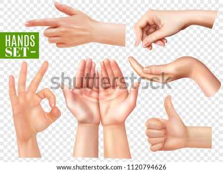 Human hands gestures realistic images set with pointing finger ok sign thumb up transparent background vector illustration