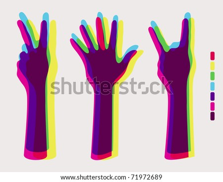 human hands:hands up ,palm hands,rock on sign