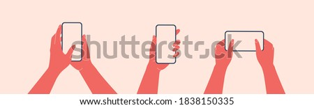 Human hands hold horizontally mobile phone with blank screen. Females arm is touching smartphone display with thumb finger. Flat colorful cartoon vector illustration.