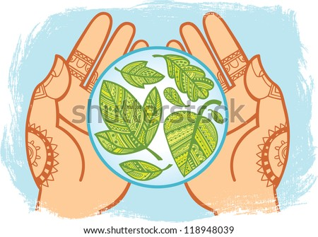 Human hands holding a blue sphere with green leaves inside. Decorative style. Vector illustration.