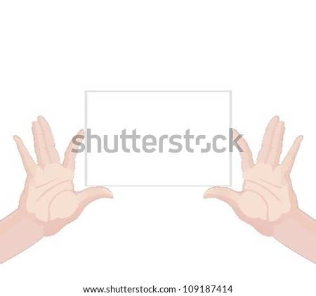 Human hands holding blank paper on white background vector illustration