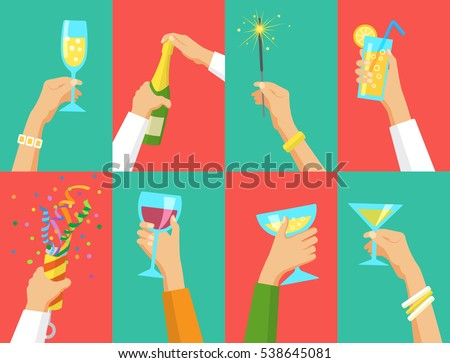 Human hands holding glasses of champagne and other drinks, holding exploding cracker and Bengal fire. Holiday and celebration concept. Can be used for ad, web design, background, card.