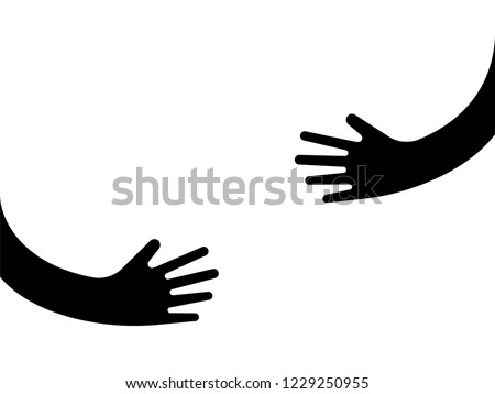 Human hands holding or embracing something logo sign. Creative emblem with arms in black color vector illustration. Unique logotype design template. Isolated on white