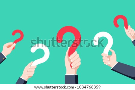 Human hands holding question mark, FAQ in flat design style, vector illustration. Vector help concept in Modern flat style. Frequently asked questions background.
