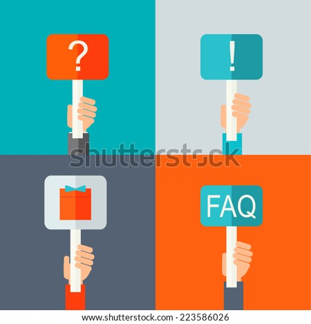 Human hands holding question mark sign, exclamation mark , gift, FAQ symbol, in flat design style, vector illustration