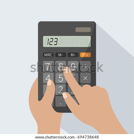 human hands holding realistic simple vector pocket calculator cartoon. keypad for business & finance print isolated. electronic calculator concept. learning math & calculate numbers flat design style.
