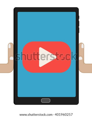 human hands holding tablet