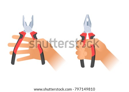 Human hands holding two pairs of pliers. Builder, construction and repair hand tools with plastic handles. Flat illustration of combination pliers. Vector design elements isolated on white background.