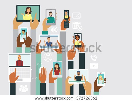 Human hands holding various smart devices communication concept