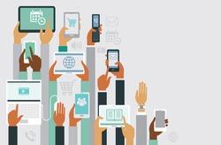 Human hands holding various smart devices copyspace design