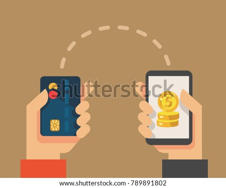 Human hands holds smartphone and credit card. Vector flat