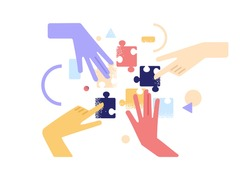 Human hands joining and connecting puzzle pieces together. Teamwork and partnership concept. Business team finding solution and solving problem with jigsaw. Flat vector illustration isolated on white