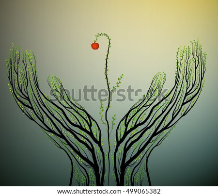 Human hands look like tree branches and red apple between them,  eco fruit idea, real nature product, take care of tree, vector