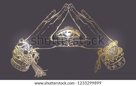 Human hands make triangle shape . Illuminati sign.Vector illustration of human eye in vintage engraved style.Spirituality sacred geometry. Vintage boho style  accessories with hippie bracelets.