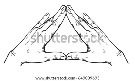 Human hands make triangle shape isolate on white background. Illuminati sign. Vector Sacred geometry. Religion, spirituality, occultism, science, alchemy magic. Coloring book for kids and adults.