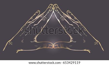 Human hands make triangle shape.  Vector illustration. Illuminati sign. Sacred geometry. Religion, spirituality, occultism, science, alchemy magic. Decorative gold element over dark.