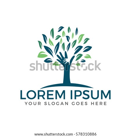 human hands   tree logo design