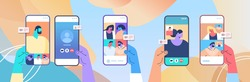 human hands using mobile app for virtual conference meeting friends discussing during video call on smartphone screens horizontal vector illustration