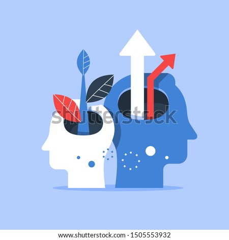Human head and arrow up, next level improvement, training and mentoring, pursuit of happiness, self esteem and confidence, vector flat illustration
