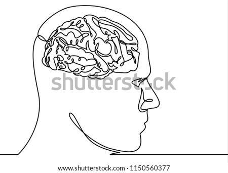 Human head and brain-continuous line drawing