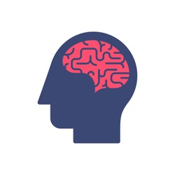 Human head and brain vector icon. Mind concept.