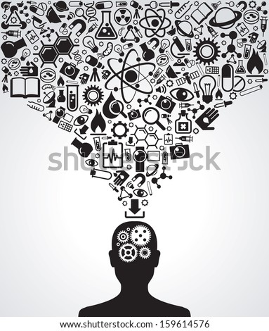 Human head and icons of science. The concept of scientific discoveries. The idea of learning. Modern technological solutions