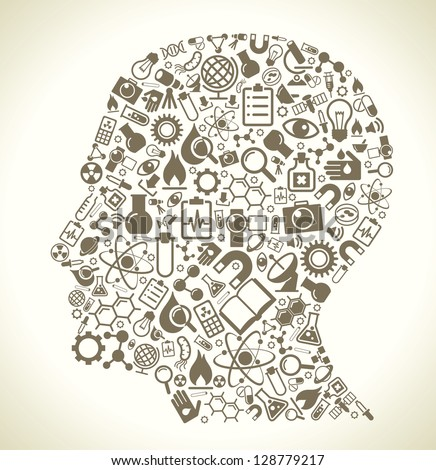 Human head and science icons. The concept of learning, research and discovery. Modern technological solutions. Vector illustration - stock vector