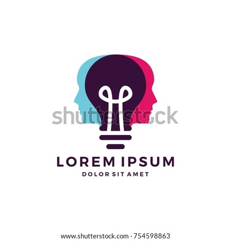 human head bulb lamp logo vector idea smart overlapping icon download