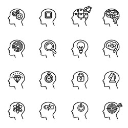 Human head, business and motivation icon set suitable for info graphics, websites and print media.Thin Line Style stock vector.