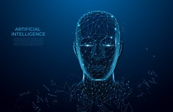 Human head created in low poly style. Man face polygon light. Emotional Intelligence allegory AI. Facial Recognition System concept. biometric scanning, 3D scanning. Polygon vector wireframe concept.