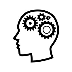 Human head gears tech logo, Cogwheel engineering technological inside brain, Artificial intelligence, Simple flat outline design icon symbol, Isolated on white background, Vector illustration