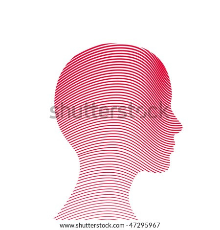 Human head made by lines.