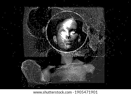 Human head made of the array of particles, pixelated and glitched portret of supreme artificial intelligence. Generative computer art. Stock photo ©