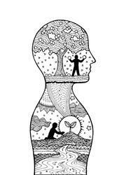 Human head man inside planting tree spirit power energy vector abstract art illustration design hand drawn