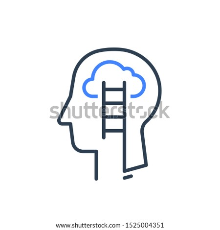 Human head profile and ladder line icon. Cognitive growth mindset psychology or psychiatry concept for self knowledge soft skill training.  Emotional intelligence vector linear design