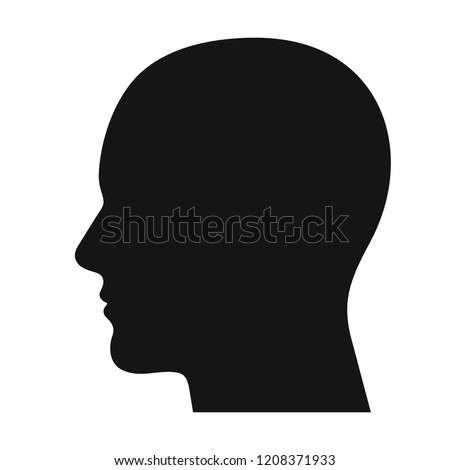 Human head profile black shadow silhouette vector illustration isolated on white background Foto stock ©