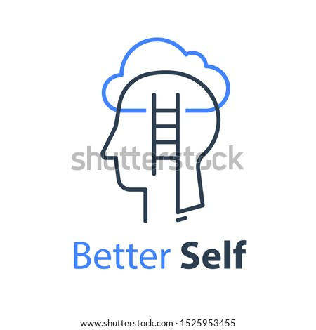 Human head profile, cloud and ladder line icon, cognitive psychology or psychiatry concept, growth mindset, self knowledge, soft skill training, emotional intelligence, vector linear design