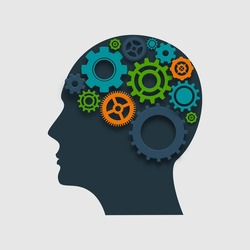 Human head profile silhouette with gears inside thinking process concept vector illustration