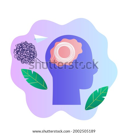 human head recovered from tangled thoughts and thinks sanely concept of mental health and healing from chaos in the head. vector illustration isolated on white background Stock photo ©