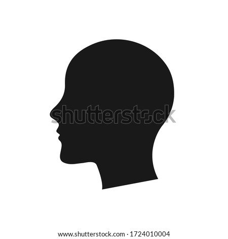 Human head silhouette black color vector white background Foto stock ©