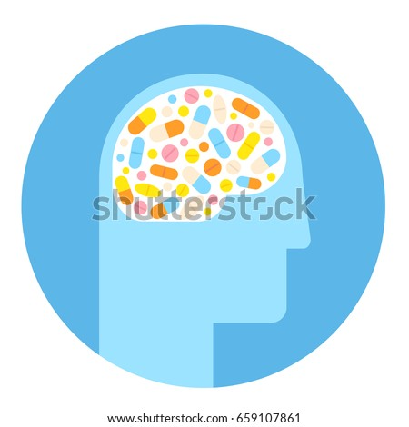 Human head silhouette with brain filled with pills. Mental health medication treatment, stimulants and antidepressants.