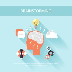 Human head silhouette with gear brain chess light bulb idea and clouds. Brainstorming process concept in flat design